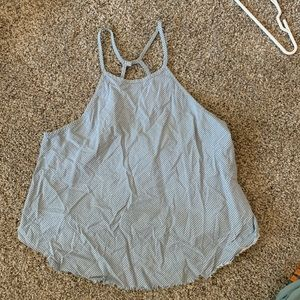 blue and white stripped tanktop